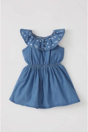 فستان بيبي بناتي جينز بياقة مكشكشة