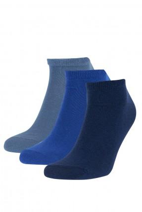 جوارب رجالية سادة عدد 3 - ازرق