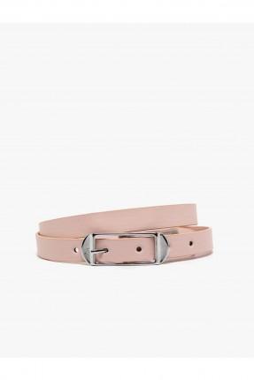 حزام نسائي جلد مزين بحلقة معدنية سادة
