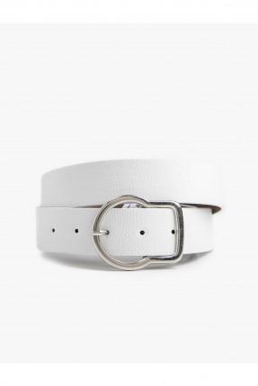 حزام نسائي جلد مزين بحلقة معدنية - ابيض
