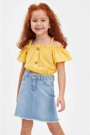بلوز اطفال بناتي بازرار مكشوف الكتف - اصفر
