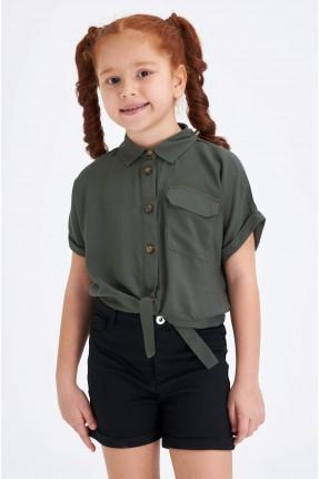 قميص اطفال بناتي بجيب ويربط عند الخصر