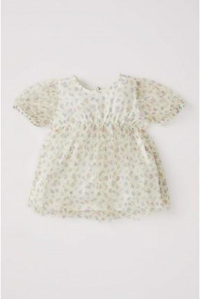 فستان بيبي بناتي تول مزهر