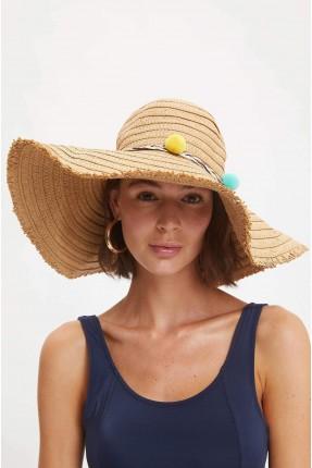 قبعة نسائية قش مزينة بكرات ملونة