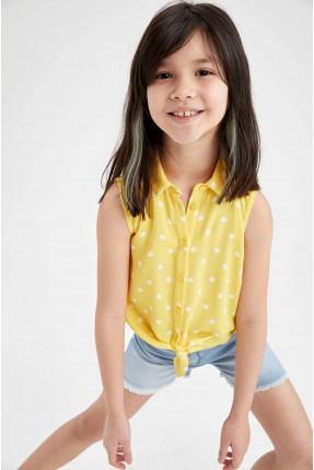 قميص اطفال بناتي منقط - اصفر