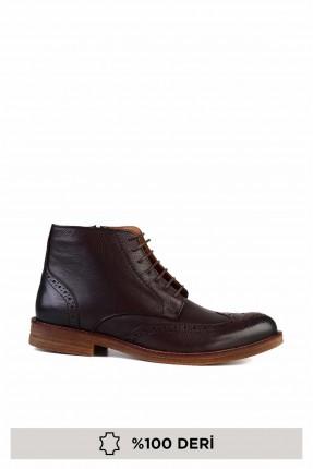 حذاء رجالي جلد برباط - بني
