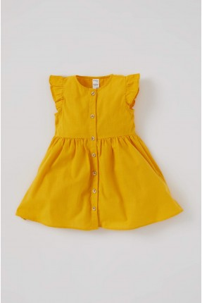 فستان بيبي بناتي مزين بازرار امامية - اصفر