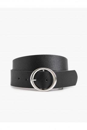 حزام نسائي جلد بحلقة معدنية - اسود