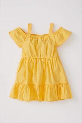 فستان بيبي بناتي باكتاف مفتوحة - اصفر