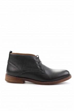 حذاء رجالي جلد برباط - اسود