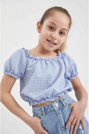 بلوز اطفال بناتي كارو - ازرق