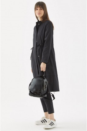 حقيبة ظهر نسائية بسحاب مزدوج - اسود
