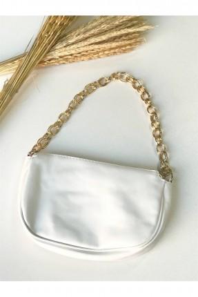 حقيبة يد نسائية بسلسلة معدنية - ابيض