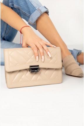 حقيبة يد نسائية بقفل معدني - بيج