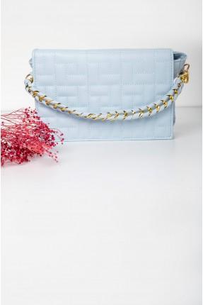 حقيبة يد نسائية بحبكة تطريز - ازرق
