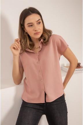 قميص نسائي نصف كم سادة - زهري