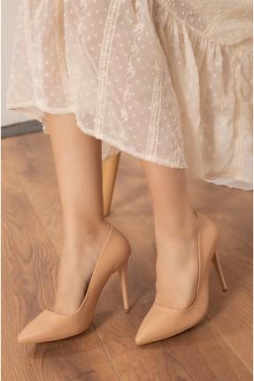 حذاء نسائي بكعب سادة - بيج