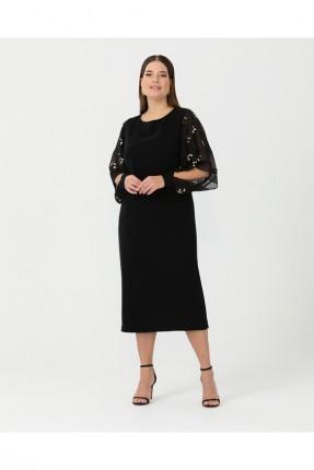 فستان رسمي مزين بالترتر - اسود
