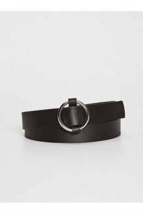 حزام نسائي جلد ببكلة مستديرة - اسود