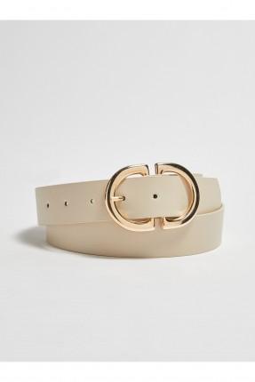 حزام نسائي جلد ببكلة معدنية - بيج