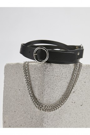 حزام نسائي جلد مزين بسلسلة - اسود