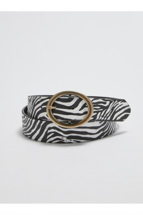 حزام نسائي جلد بنقشة زيبرا