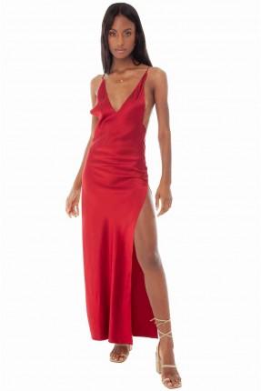 فستان لانجري ساتان بفتحة جانبية