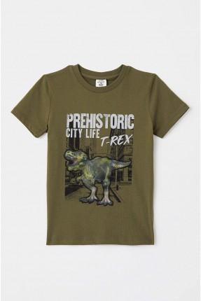 تيشرت اطفال ولادي بطبعة ديناصور - زيتي