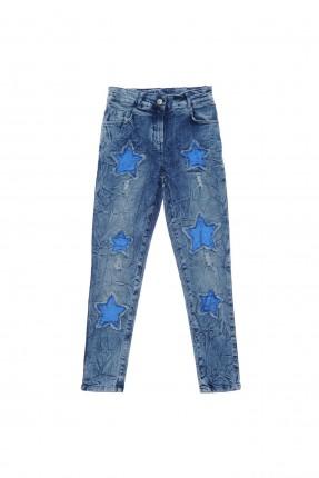 بنطال جينز اطفال بناتي بنمط نجوم