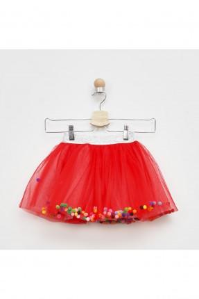 تنورة اطفال بناتي مزينة بالترتر - احمر