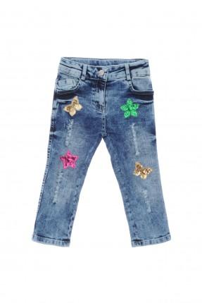 بنطال جينز اطفال بناتي مطرز بالترتر