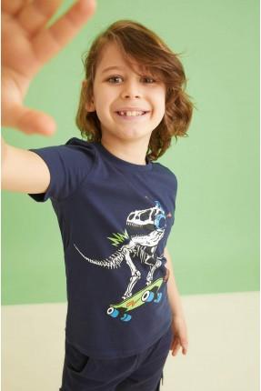 تيشرت اطفال ولادي بطبعة ديناصور - كحلي