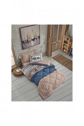طقم لحاف سرير فردي بنقشة مربعات