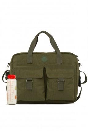 حقيبة تجهيزات بيبي بجيوب نافرة - زيتي