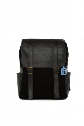حقيبة ظهر نسائية جلد باحزمة - اسود