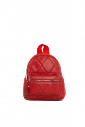 حقيبة ظهر نسائية بحبكة تطريز - احمر