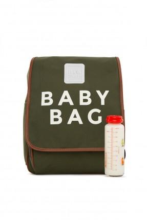 حقيبة تجهيزات بيبي مزينة بكتابة - زيتي