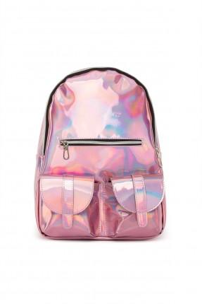 حقيبة ظهر نسائية ذو لمعة - زهري