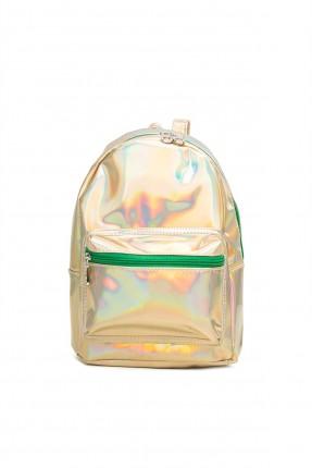 حقيبة ظهر نسائية ذو لمعة - ذهبي
