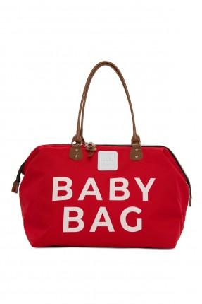 حقيبة تجهيزات بيبي بكتابة - احمر