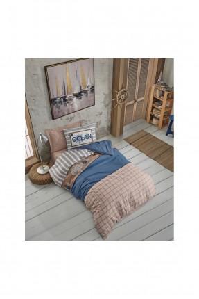 طقم غطاء سرير فردي منقش مربعات