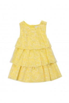 فستان اطفال بناتي مزخرف - اصفر