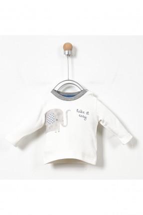 طقم بيبي ولادي حديثي الولادة بياقة دائرية