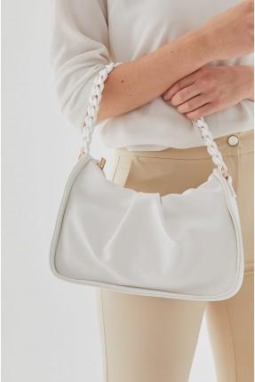حقيبة يد نسائية بسلسة - ابيض