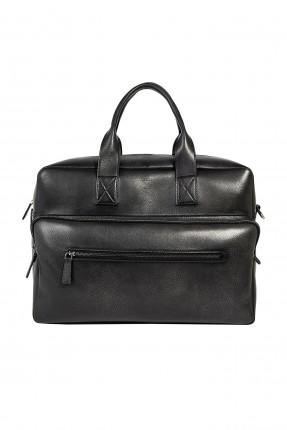 حقيبة يد رجالية جلد بجيب - اسود