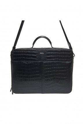 حقيبة يد رجالية جلد بعدة جيب - اسود