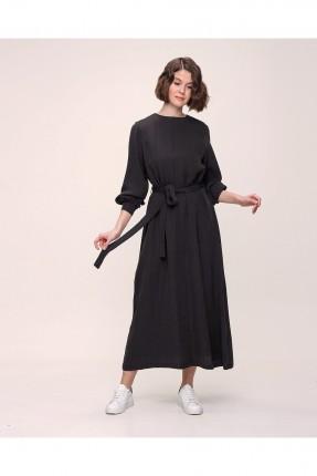 فستان سبور باكمام طويلة - اسود