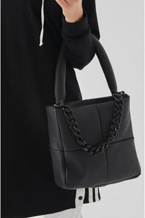حقيبة يد نسائية مزينة بخطوط درزة - اسود