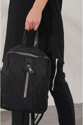 حقيبة يد نسائية بخطوط درزة - اسود