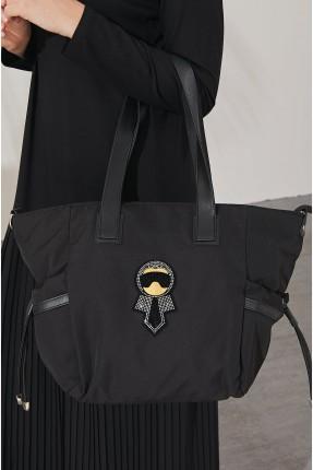 حقيبة يد نسائية مزينة بستراس - اسود